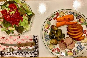 Grilled pork and peaches with sides and salad