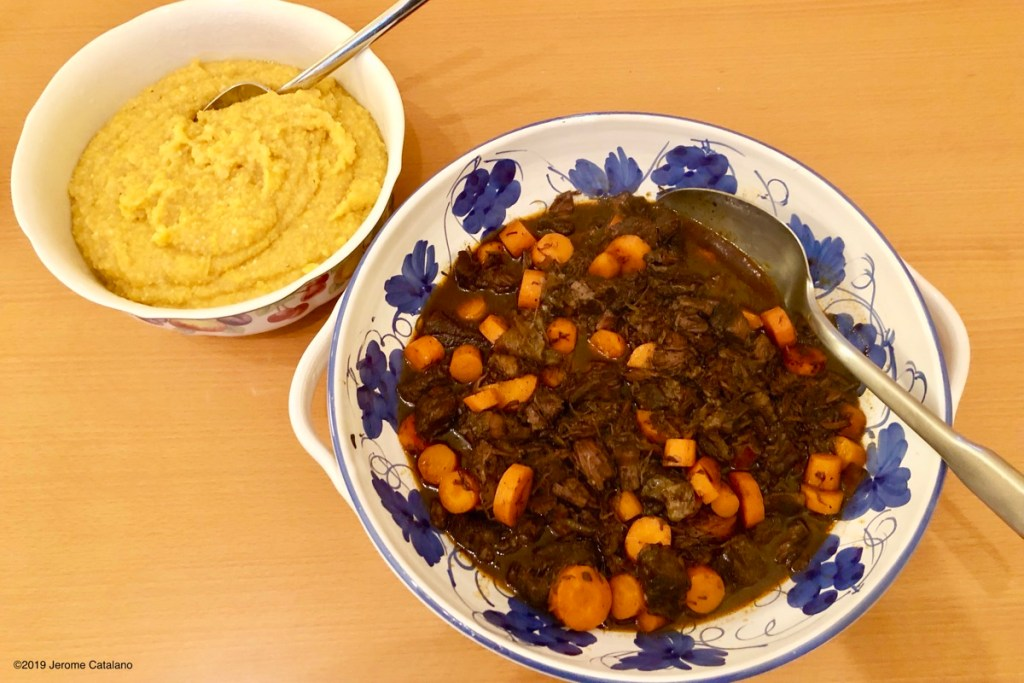 Beef Stew with Carrots and Polenta