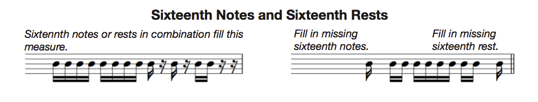 sixteenth notes and rests