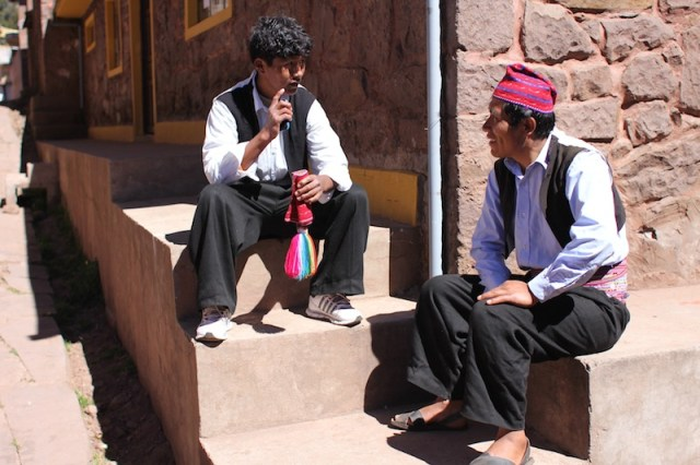 Locals chatting in Taquile's square