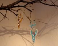 """Hummingbird Sun Catchers"" Audrey Kunkel, beadwork sculpture"