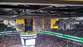 sitting with the banners.