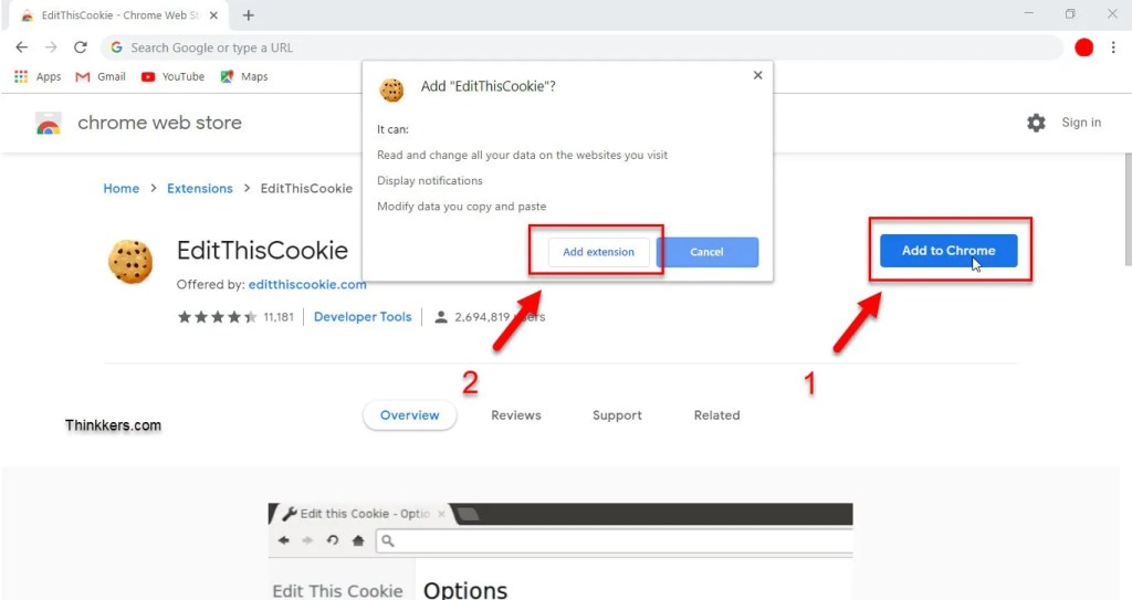 EditThisCookies for pc