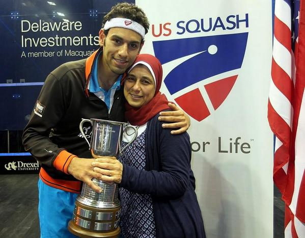 Mohamed El-Shorbagy and his mom after he won the US Open final for Squash
