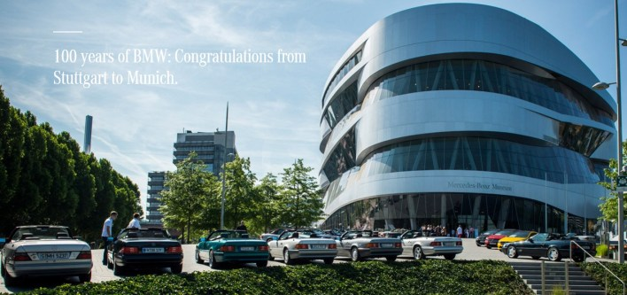 100 years of BMW Congratulations from Stuttgart to Munich