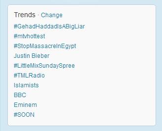Egypt's Twitter Trending Hashtags