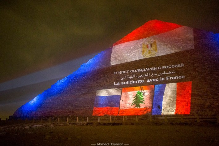 Egypt lights the Giza Pyramids in unbiased solidarity with Lebanon, France and Russia