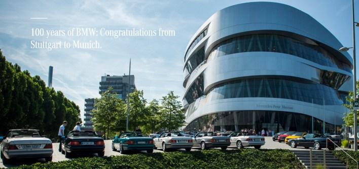 100 years of BMW Congratulations from Stuttgart to Munich