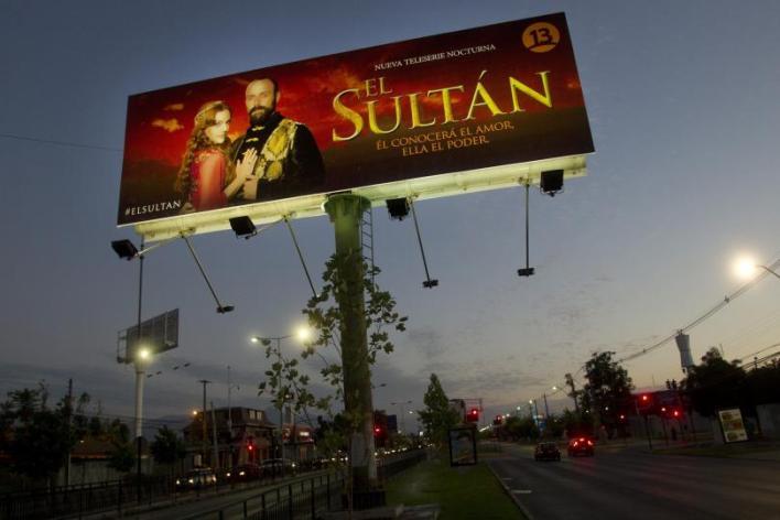 """View of a billboard advertising Turkish soap opera """"El Sultan"""" in Santiago, Chile, Dec. 14, 2014,"""
