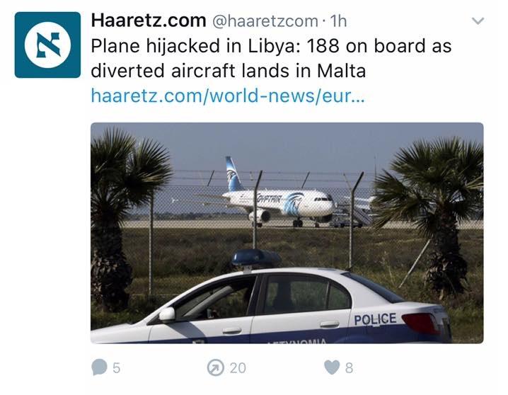 Israeli Haaretz tweet using EgyptAir plane image
