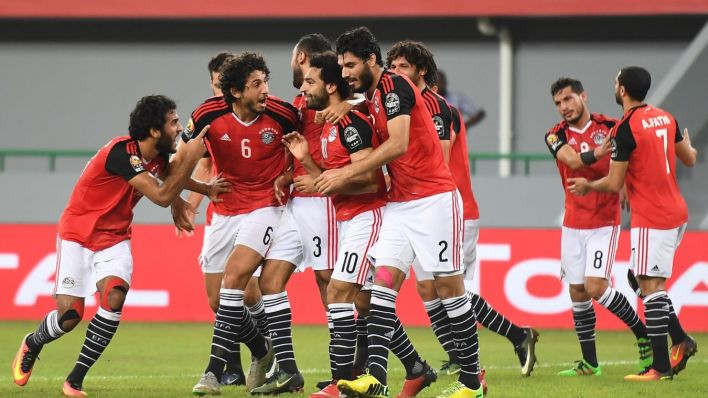 Egypt star Salah mobbed by his team-mates after scoring in Ghana - AFCON Gabon 2017 (Photo: Getty)