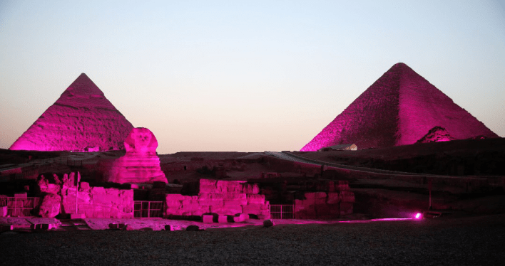 "The Great Egyptian Pyramids and the Glorious Sphinx Turned Purple Over the Weekend in Support of the International ""Inflammatory Bowel Diseases"" Day."