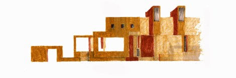 """Our buildings are not purely white in colour but a composition of colours and textures, this comes from our understanding of the susceptibility to weathering over time of buildings in the Indian context"": Shrujan Elevation Study by Mausami Adhare, 2004."