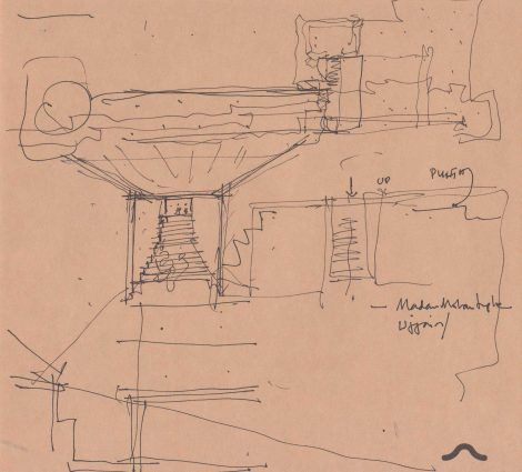 """I drew this view from Ujjain, while designing the innards of experience in the building"" - Drawn by Uday Andhare."