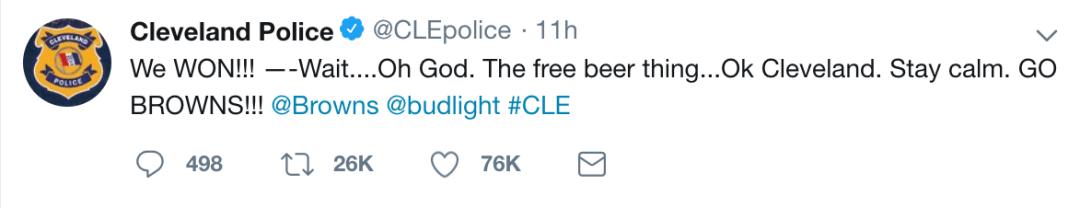 Cleveland Police Bud Light Tweet