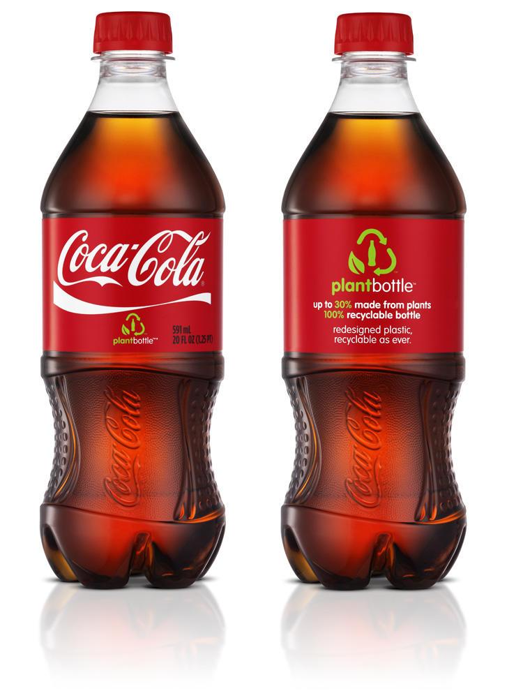 Coke bottles made from plants