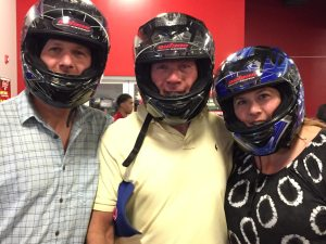 From left:  Business partners Matt Glick, Peter Glick, Melissa Glick at Octane Raceway in Scottsdale, AZ, April 2015