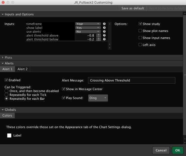 Reclimb & Pullback Indicator for ThinkOrSwim - Lower Pullback Settings