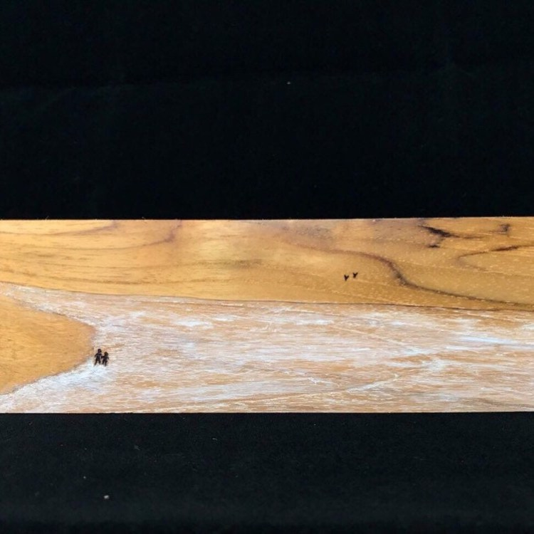 """Walk at the Beach"", wooden painting with pyrography art"