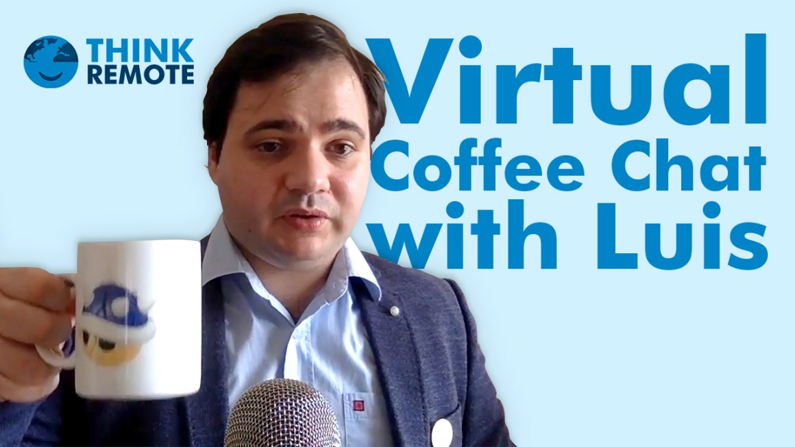 Luis holding a coffee mug during his virtual coffee chat