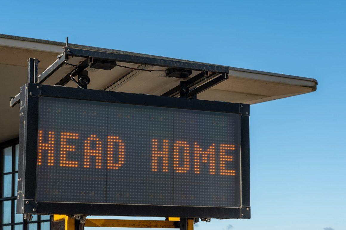 Remote work job billboard on road