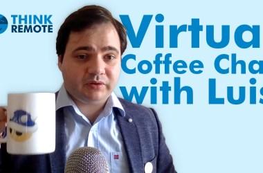 Luis having coffee in a mug during virtual chat