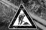 b&w - cinque terre, is a sign
