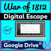 War of 1812 Digital Escape room for Educational Classroom