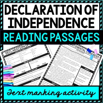 Declaration of Independence Reading Passages, Questions and Text Marking example picture