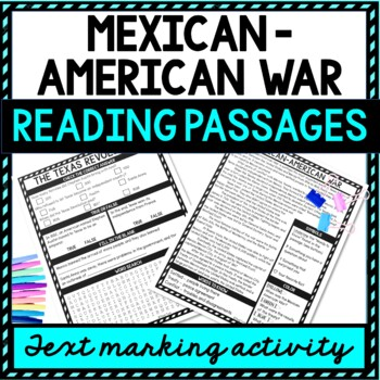 Mexican American War Reading passages example picture