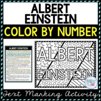 Albert Einstein Color by Number, Reading Passage and Text Marking picture