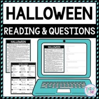 Halloween DIGITAL Reading Passage & Questions - Self Grading picture