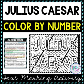 Julius Caesar Color by Number, Reading Passage and Text Marking picture