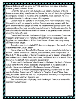 Julius Caesar DIGITAL Reading Passage and Questions - Self Grading picture