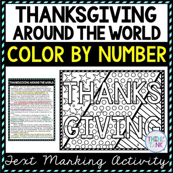 Thanksgiving Around the World Color by Number, Reading Passage and Text Marking picture