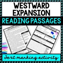 Westward Expansion Reading Passages, Questions and Text Marking picture