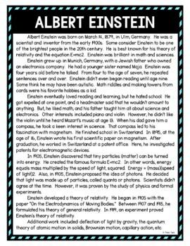 Albert Einstein DIGITAL Reading Passage and Questions - Self Grading