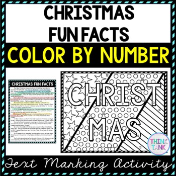 Christmas Fun Facts Color by Number, Reading Passage and Text Marking