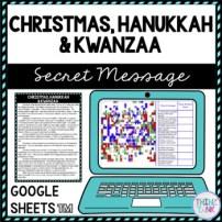 Christmas, Hanukkah and Kwanzaa Secret Message Activity for Google Sheets™