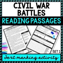 Civil War Battles Reading Passages, Questions and Text Marking + Word Search