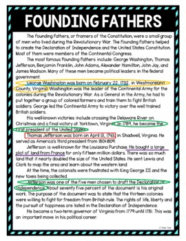 Founding Fathers Color by Number, Reading Passage and Text Marking