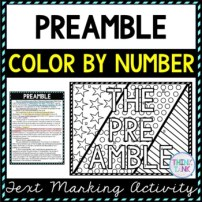 Preamble Color by Number, Reading Passage and Text Marking