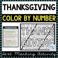 Thanksgiving Color by Number, Reading Passage and Text Marking