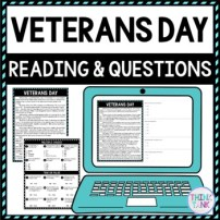 Veterans Day DIGITAL Reading Passage and Questions - Self Grading