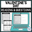 Valentine's Day DIGITAL Reading Passage & Questions - Self Grading product picture