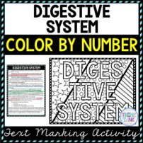 Digestive System Color by Number, Reading Passage and Text Marking