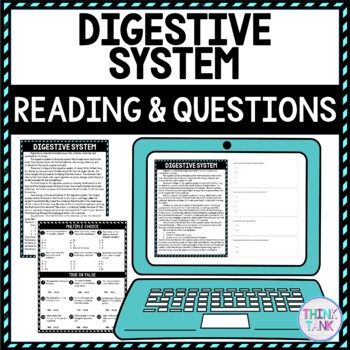 Digestive System DIGITAL Reading Passage and Questions - Self Grading