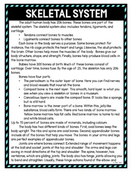 Skeletal System DIGITAL Reading Passage and Questions - Self Grading