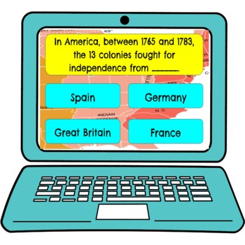 Patriots and Loyalists Review Game Board Digital Google Slides | 13 Colonies