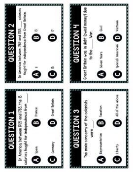 Patriots and Loyalists Task Cards Review Game Activity | American Revolution 2